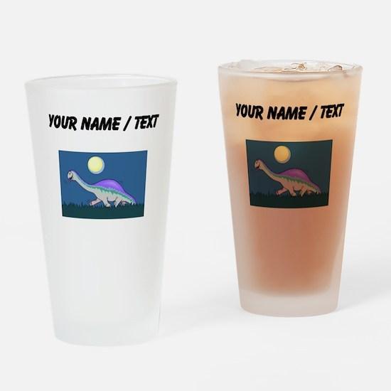 Custom Dinosaur At Night Drinking Glass