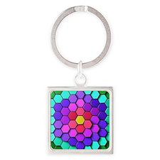 Modern Colorful Geometric Hexagon  Square Keychain
