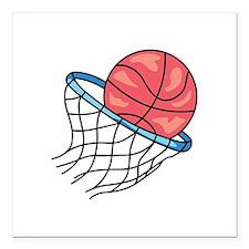 "Basketball Hoop Square Car Magnet 3"" x 3"""