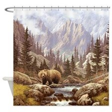Grizzly Bear Landscape Shower Curtain