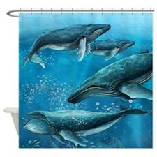 Coral Reef Whales Shower Curtain