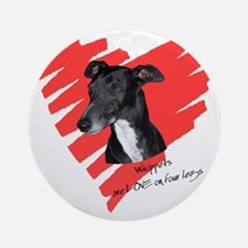 Whippet2 Love on 4 Legs Ornament (Round)