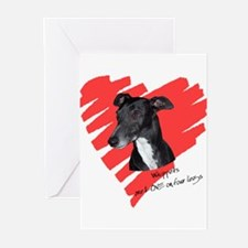 Whippet2 Love on 4 Legs Greeting Cards (Package of