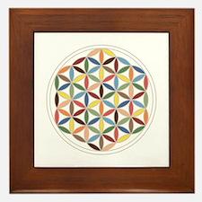 Flower Of Life Retro Cols Framed Tile