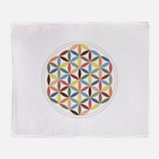 Flower Of Life Retro Cols Throw Blanket