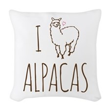 I Love Alpacas Woven Throw Pillow