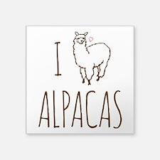 "I Love Alpacas Square Sticker 3"" x 3"""