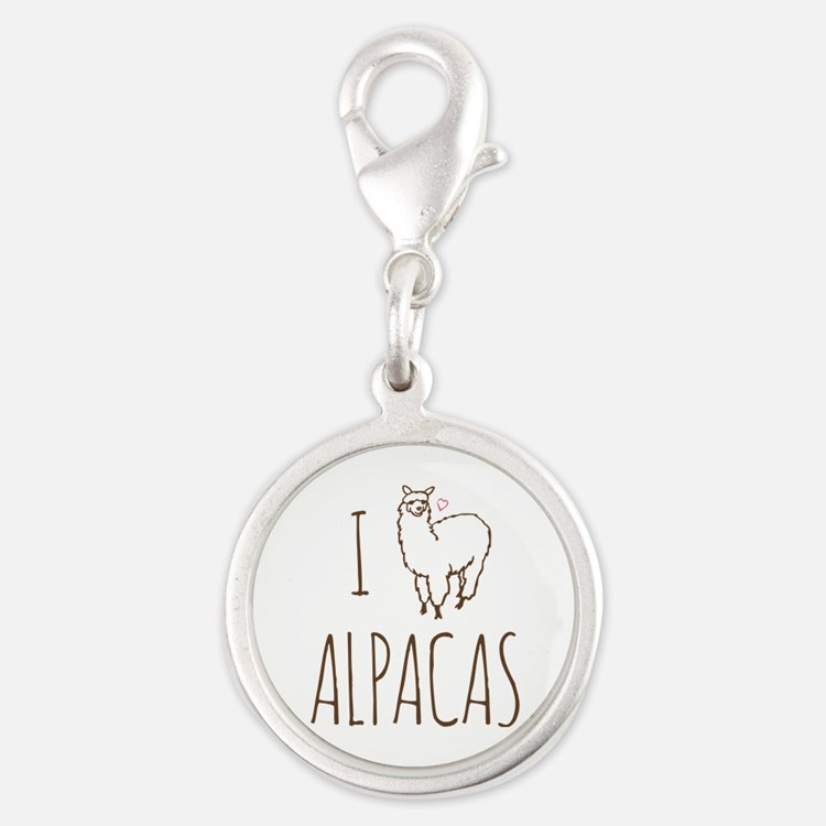 I Love Alpacas Silver Round Charm