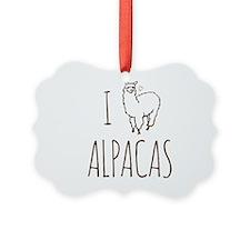 I Love Alpacas Picture Ornament