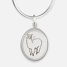 Cute Alpaca Silver Oval Necklace