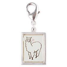 Cute Alpaca Silver Portrait Charm