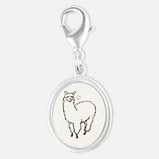 Cute Alpaca Silver Oval Charm