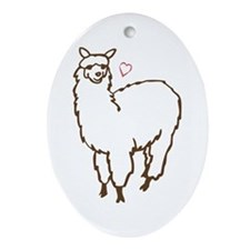Cute Alpaca Ornament (Oval)
