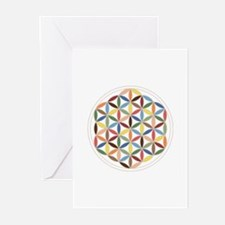 Flower Of Life Retro Cols Greeting Cards