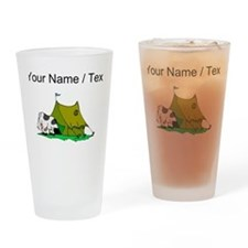 Custom Cow In Tent Drinking Glass