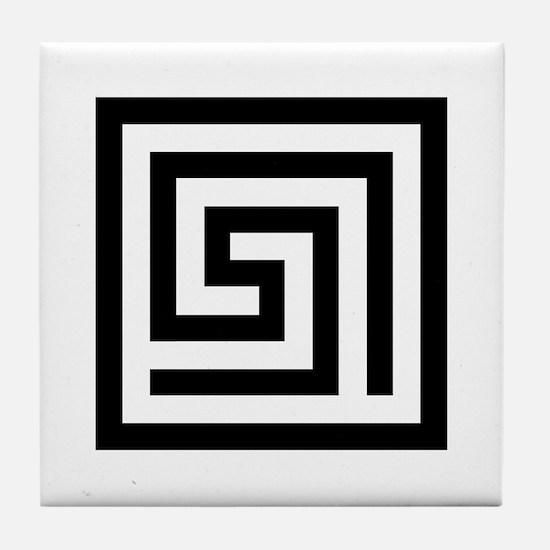 GREEK KEY SQUARE Tile Coaster