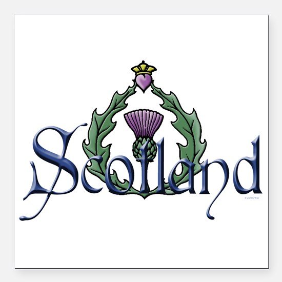 "Scotland: Thistle Square Car Magnet 3"" x 3"""