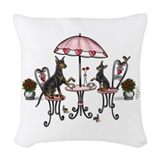 Manchester Terrier Coffee Time Woven Throw Pillow