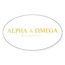 Orange Alpha Omega Oval Decal