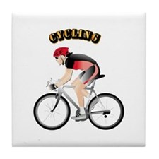 Cycling with Text Tile Coaster