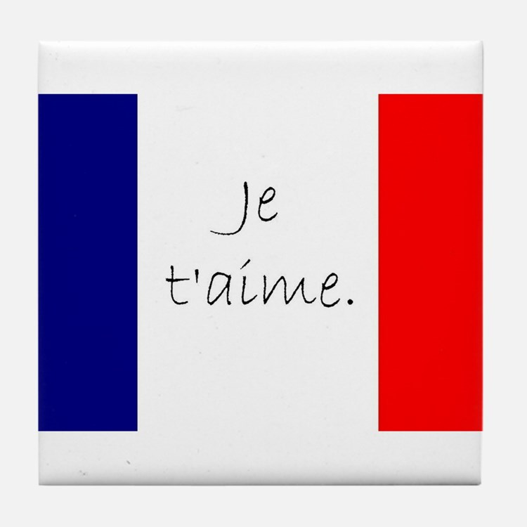 Je t'aime (I love you) - Charlie / Fr Tile Coaster