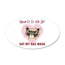 Cute Grumpy cat Oval Car Magnet