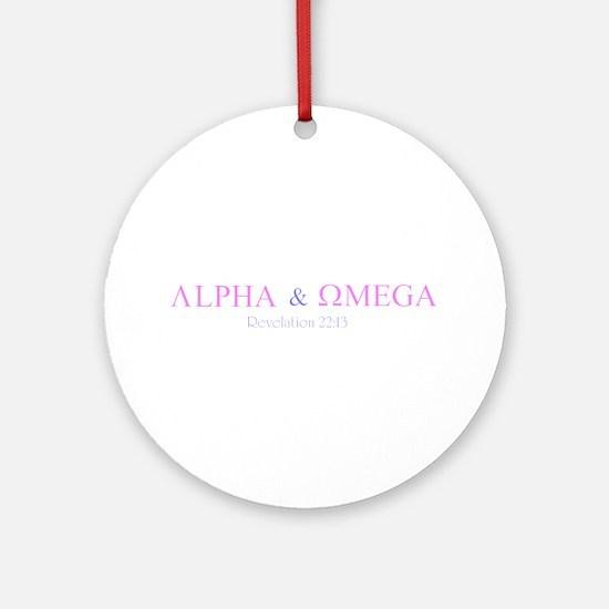 Pink Alpha Omega Ornament (Round)