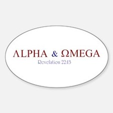 Red Alpha Omega Oval Decal
