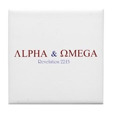 Red Alpha Omega Tile Coaster