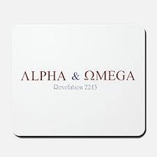 Red Alpha Omega Mousepad