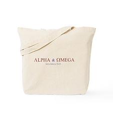 Red Alpha Omega Tote Bag