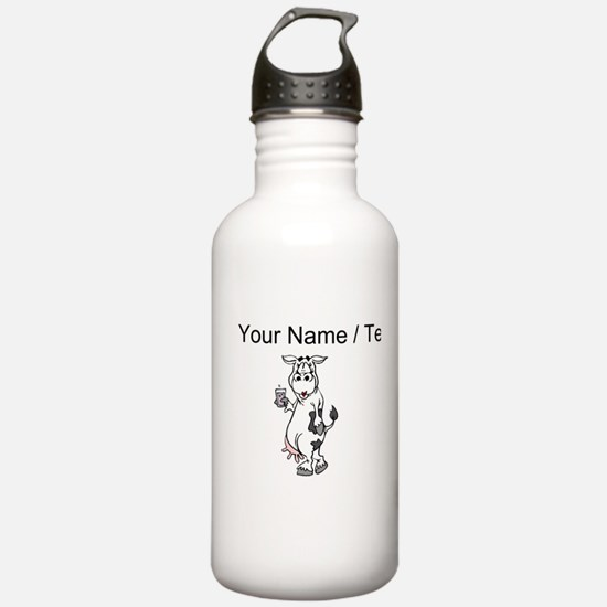 Custom Cow Drinking Milk Water Bottle