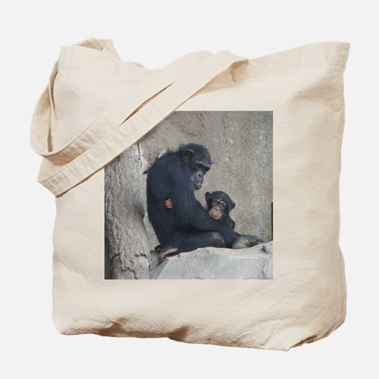 Chimpanzee Baby and Mummy Tote Bag