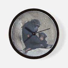 Chimpanzee Baby and Mummy Wall Clock