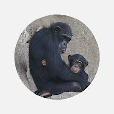 """Chimpanzee Baby and Mummy 3.5"""" Button"""