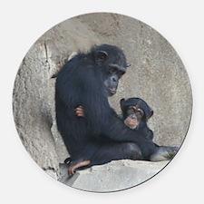 Chimpanzee Baby and Mummy Round Car Magnet