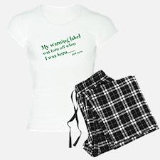 warning label Pajamas