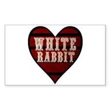 White Rabbit Heart Rectangle Decal