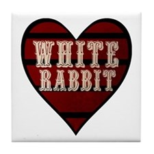 White Rabbit Heart Tile Coaster