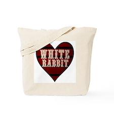 White Rabbit Heart Tote Bag