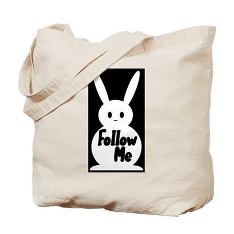 Follow Me White Rabbit Tote Bag