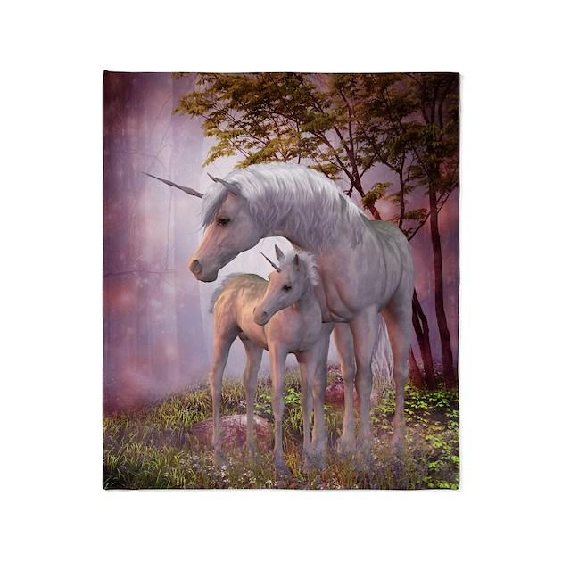 Enchanted Unicorns Throw Blanket by FantasyArtDesigns