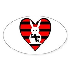 Follow Me White Rabbit Heart Oval Decal