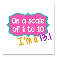 "I'm a 13.1 Pink Square Car Magnet 3"" x 3"""