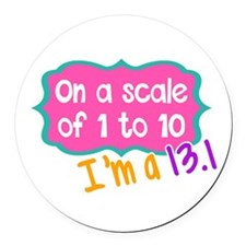 I'm a 13.1 Pink Round Car Magnet