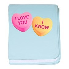 I LOVE YOU - I KNOW - Candy Hearts baby blanket
