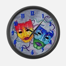 Comedy Tragedy Blue Large Wall Clock
