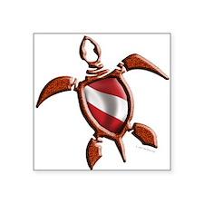 """Dive Turtle Square Sticker 3"""" x 3"""""""