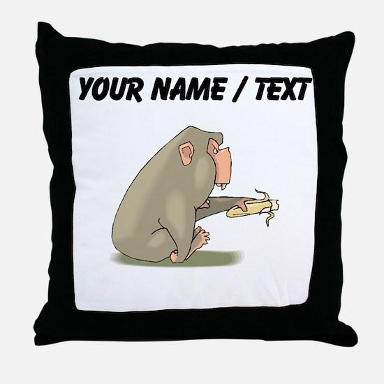 Custom Chimp Eating Banana Throw Pillow
