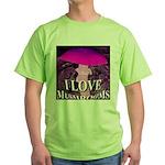I Love Mushrooms Spherized Green T-Shirt